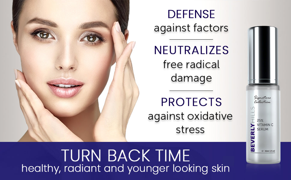 Defence against factors. Neutralizes free radical damage. Protects against oxidative stress. turn back time, healthy, radiant, and younger looking skin.