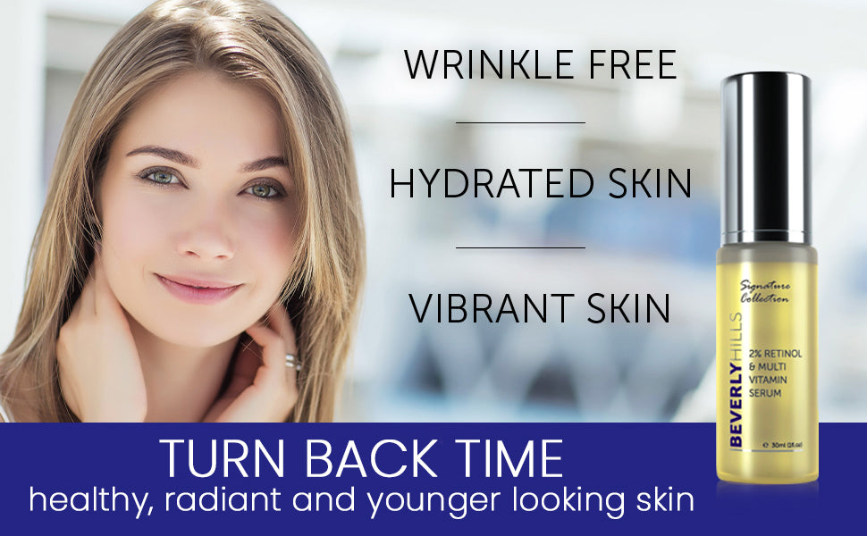 Wrinkle free, hydrated skin, vibrant skin. Turn back time. Healthy, radiant and younger looking skin.