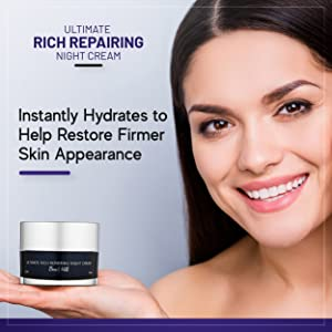 Ultimate rich repairing night cream. Instantly hydrates to help restore firmer skin appearance