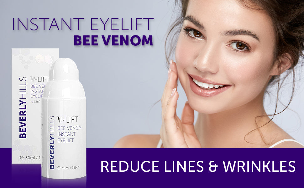 Instant eyelift. Bee venom. Reduce lines and wrinkles.
