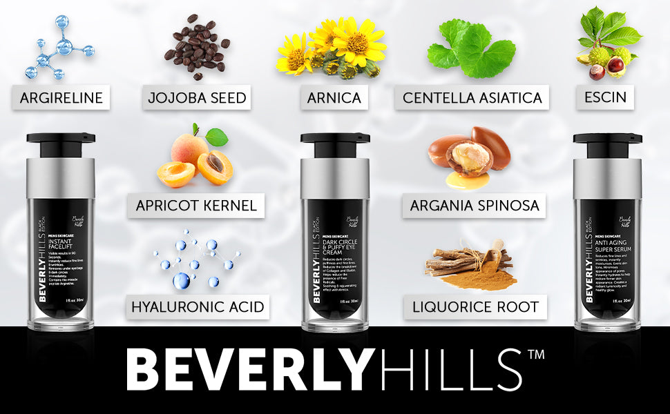 Ingredients: Argireline, Jojoba seed, Arnica, Centella asiatica, Escin, Apricot kernel, argania spinosa, hyaluronic acid, liquorice root. Beverly hills