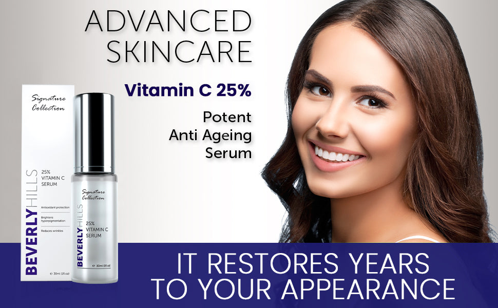 Advanced skincare. vitamin c 25%. potent anti ageing serum, it restores years to your appearance