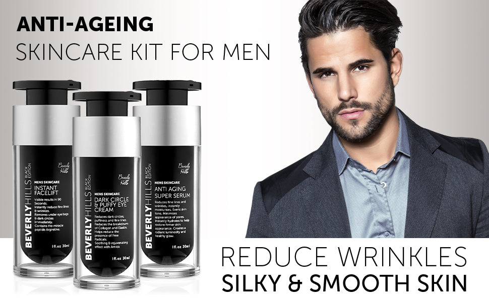 Anti-ageing skincare kit for men. Reduce wrinkles. Silky and smooth skin.