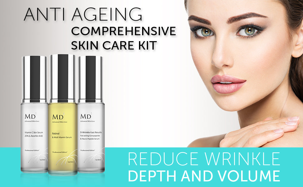 Anti ageing comprehensive skincare kit. Reduce wrinkle depth and volume.