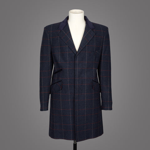 Herrock i borstad ull - Navy Blue Checked