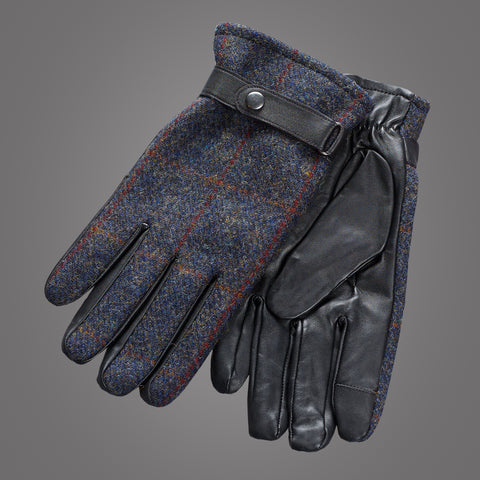 Harris Tweed Handskar - Blue Checked