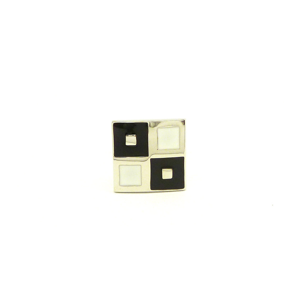 Wild Links - Silver Black and White Squares Cufflinks