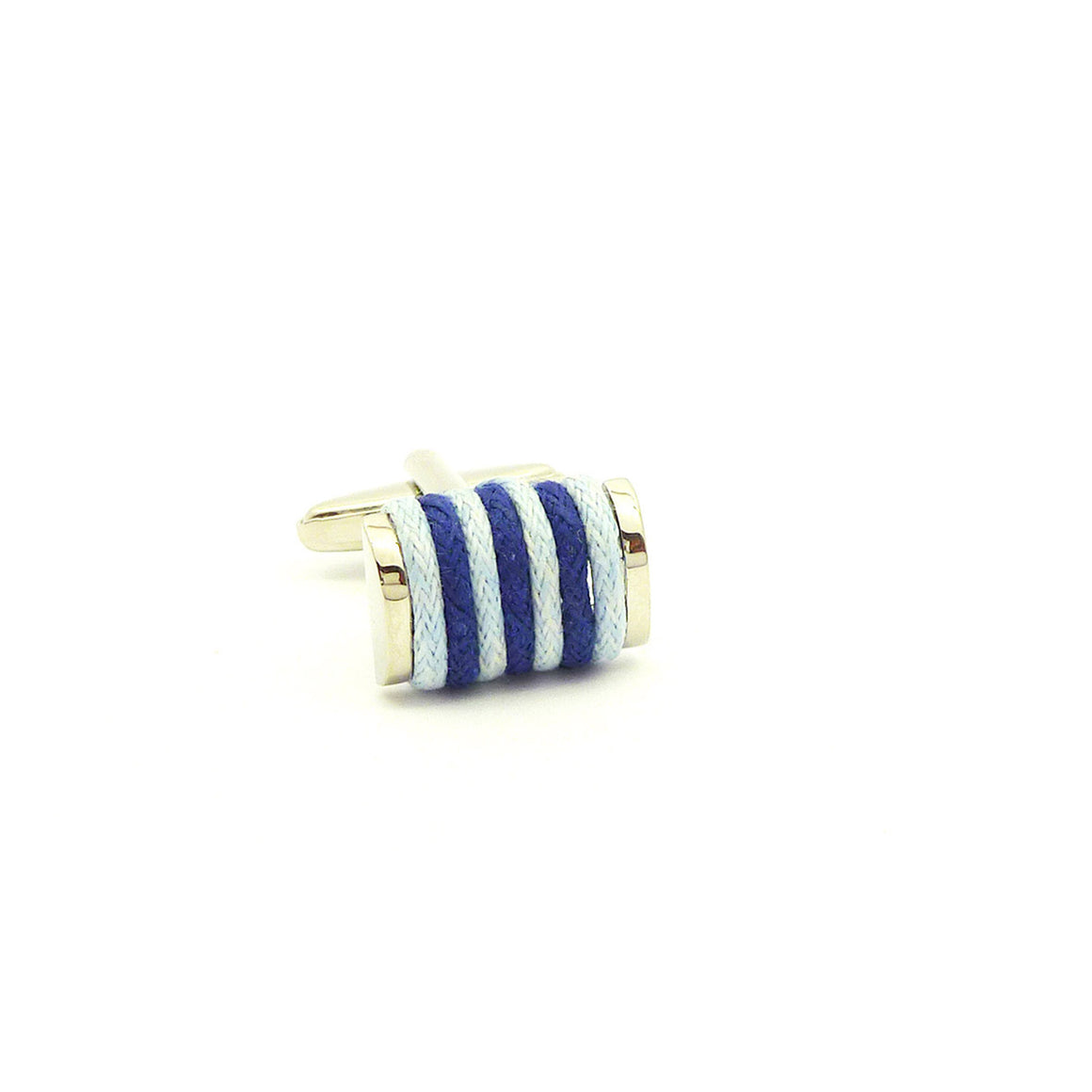 Wild Links - Silver Blue Cotton Cufflinks