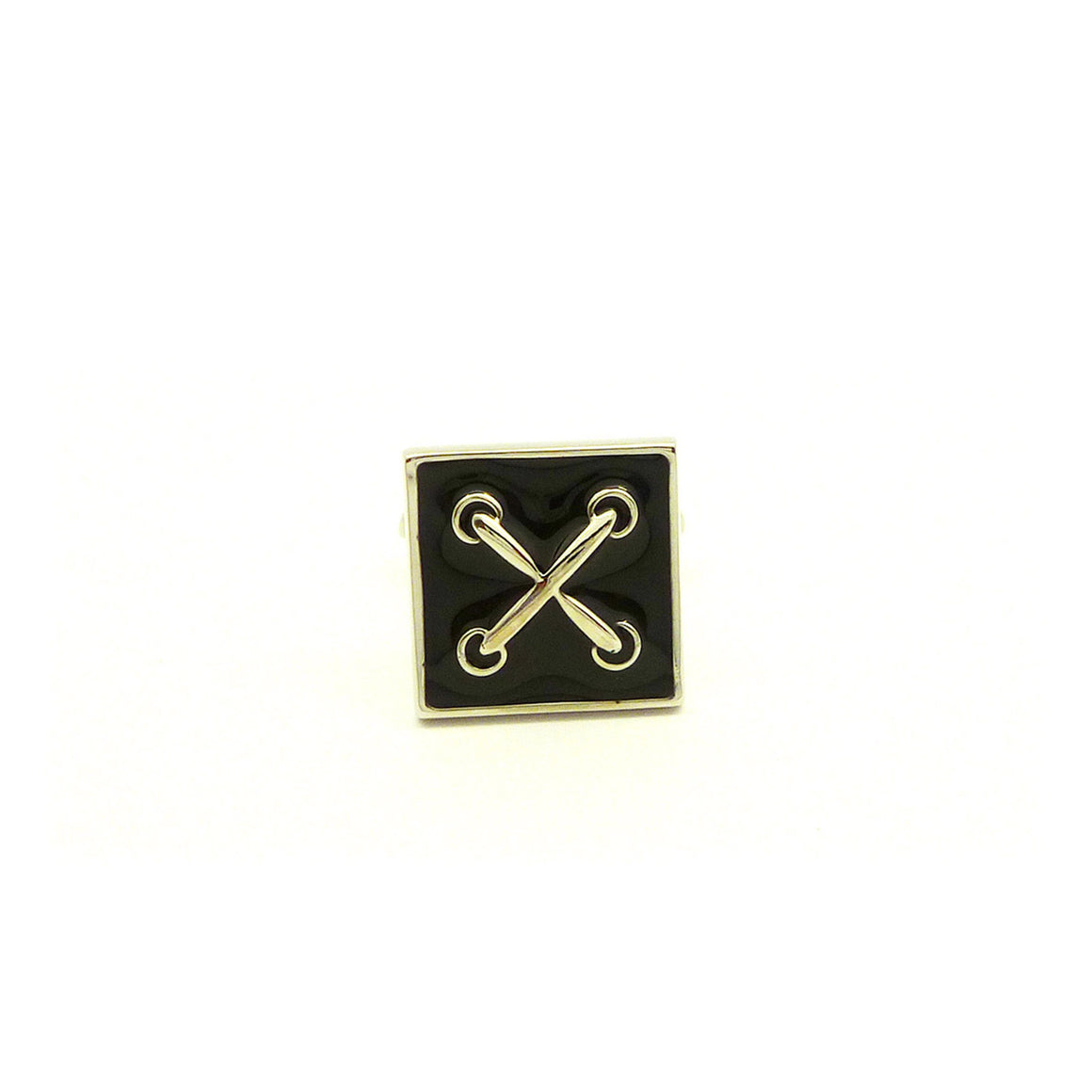 Wild Links - Silver Enamel Cross Cufflinks