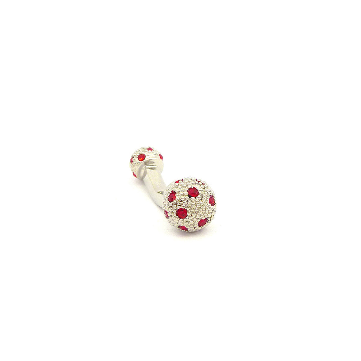 Wild Links - Silver Red Sparkling Stone Cufflinks