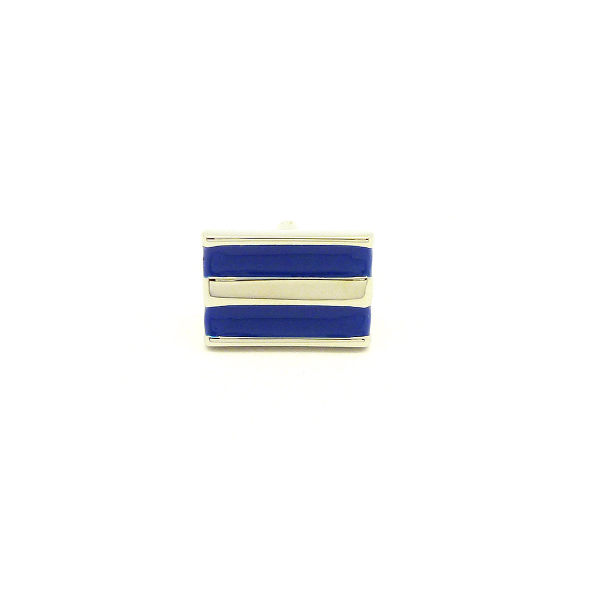 Wild Links - Silver Blue and White Stripes Cufflinks