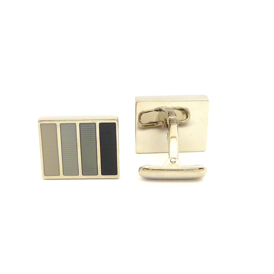 Wild Links - Silver Brown Blue Black Stripes Cufflinks
