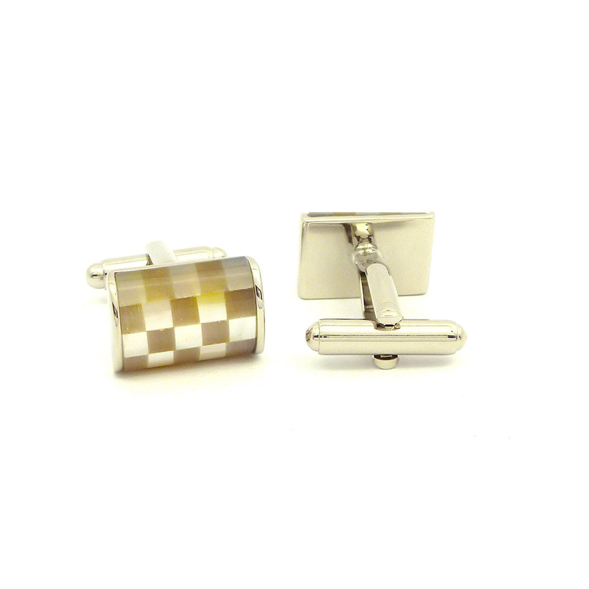 Wild Links - Silver Light Brown Checkers Cufflinks