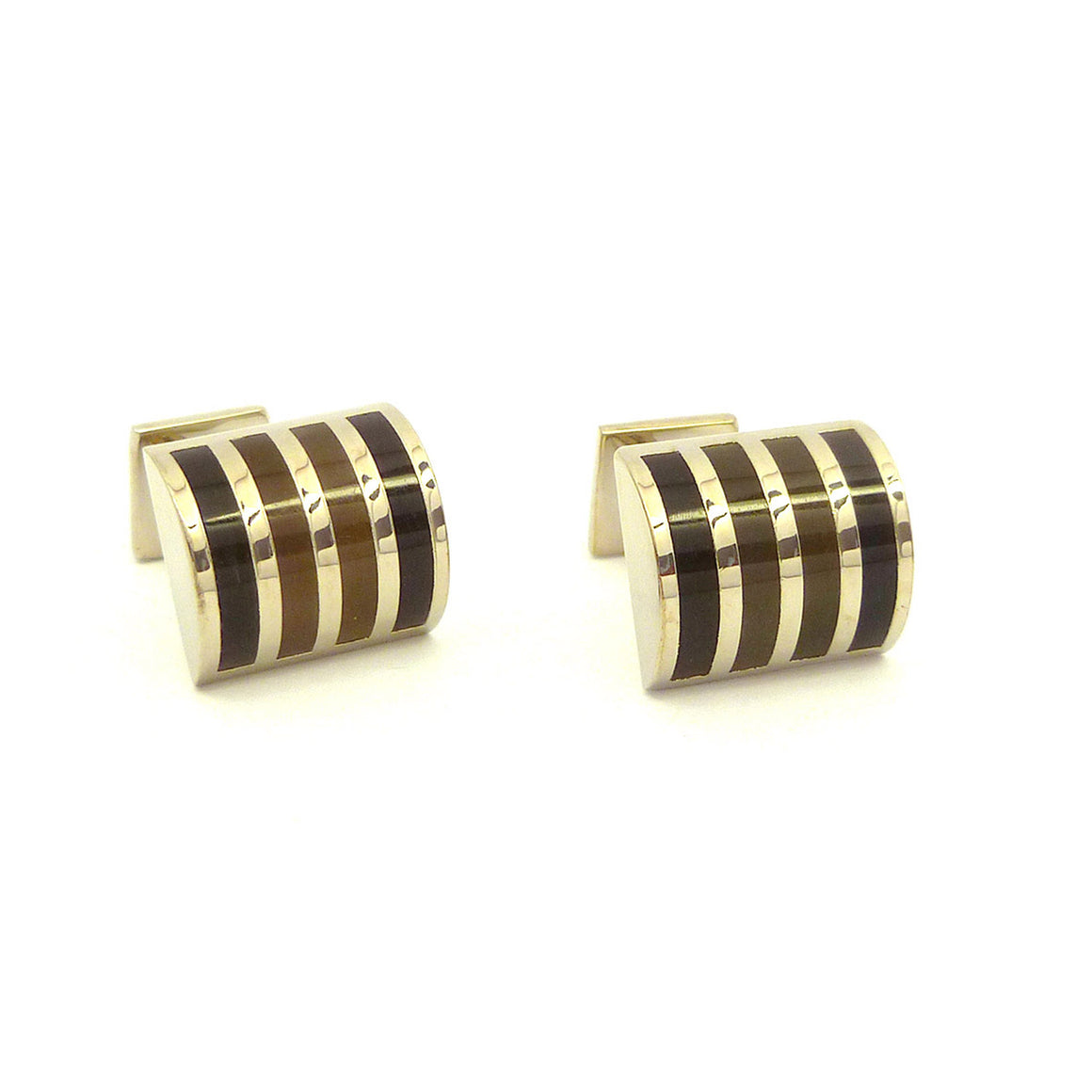 Wild Links - Silver Brown Shades Vertical Stripes Cufflinks