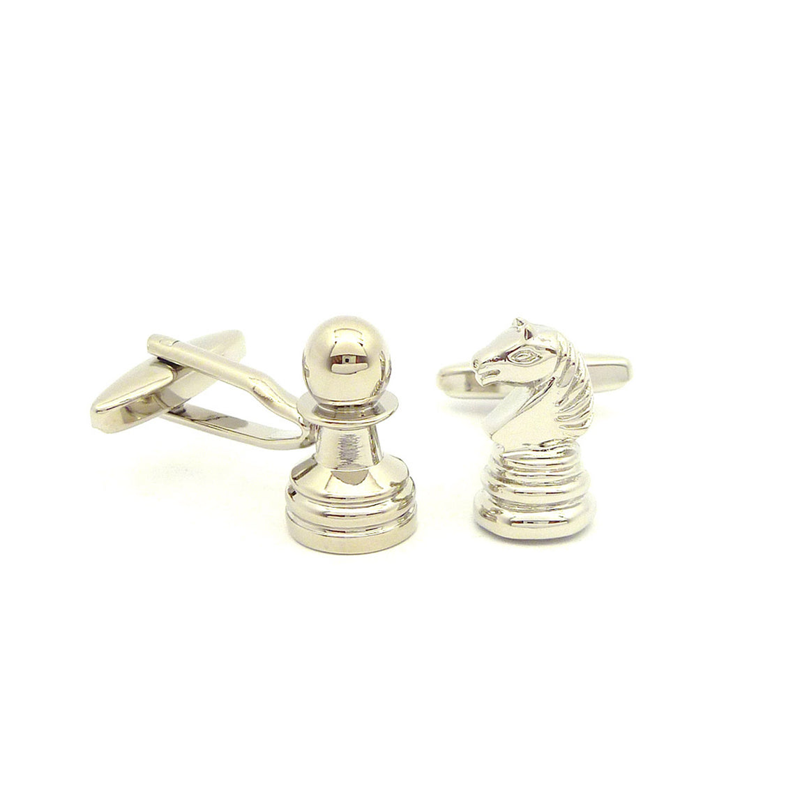 Wild Links - Silver Chess Pawn and Knight Cufflinks