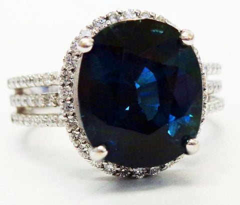 Oval Blue Sapphire & Diamond Accented Ring 18k White Gold