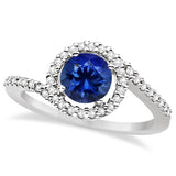Twist Diamond and Sapphire Ring 14k White Gold