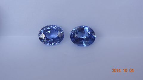 Natural Two Blue Oval Sapphires 5ct (2.37ct+2.63ct) (Unheated)