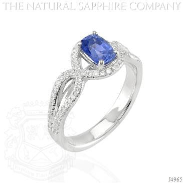 Oval Blue Sapphire & Diamond Accented Ring 14k White Gold