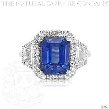 Emerald cut Blue Sapphire & Diamond Accented Ring 18k White Gold