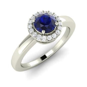Round Sapphire Ring in 14k White Gold with Diamond