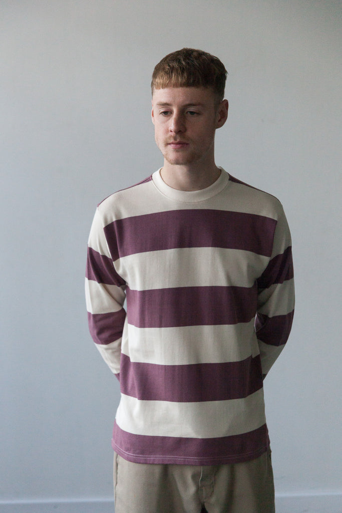 M-5 Long Sleeve Repeat Stripe T-Shirt (Claret)