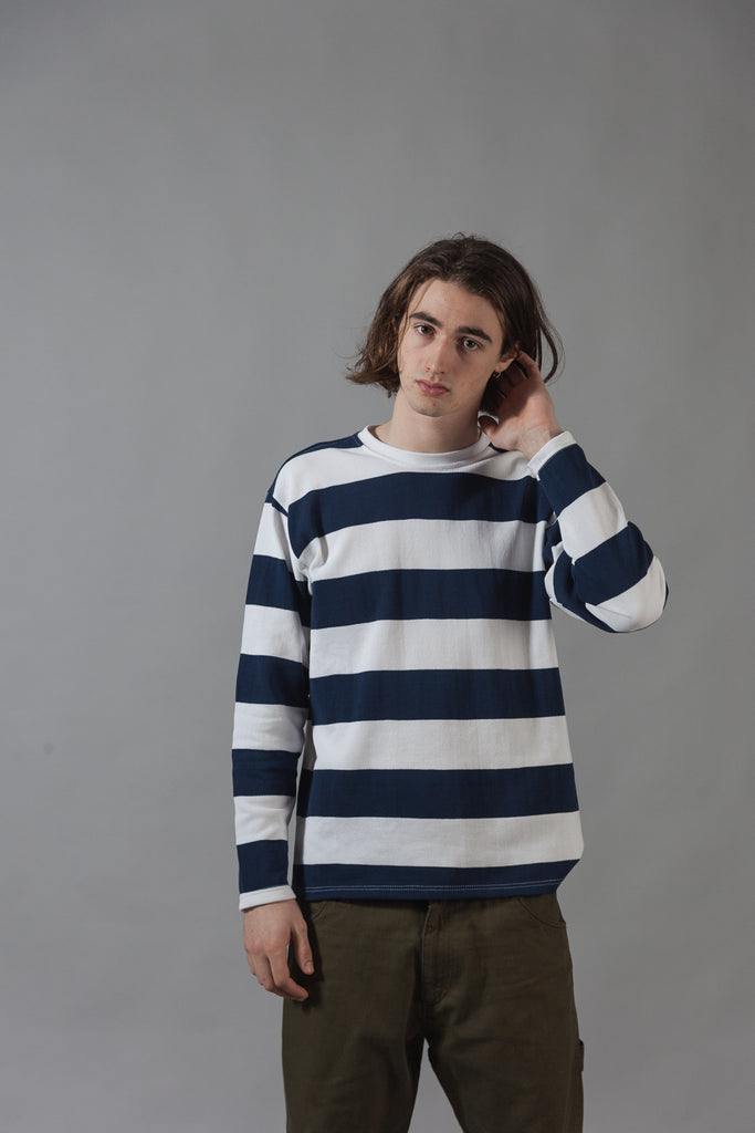 M-5 Long Sleeve Piqué Repeat Stripe T-Shirt (navy/white)