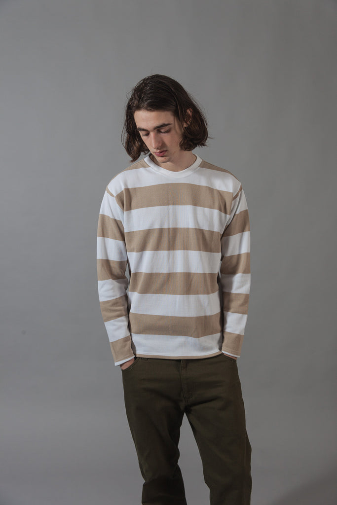 M-5 Long Sleeve Piqué Repeat Stripe T-Shirt (linen/white)