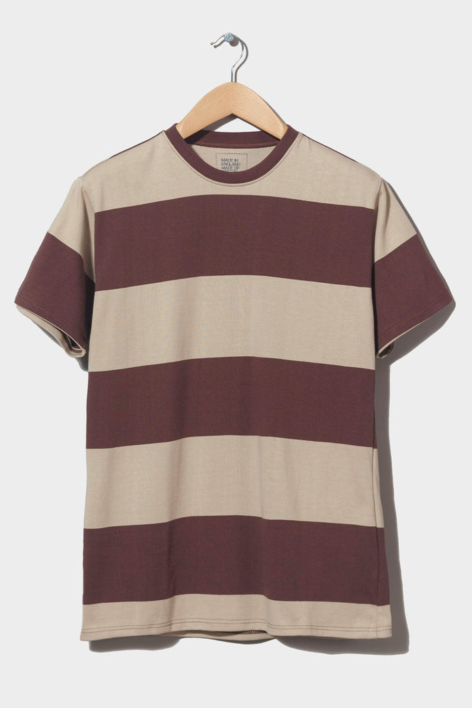 M-4  Stripe Heavyweight T-Shirt (brown/linen)