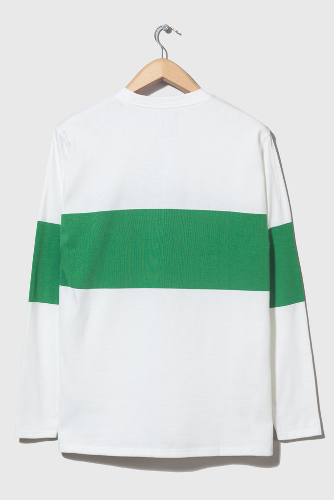 M-5 Long Sleeve Chest Stripe (white/emerald)