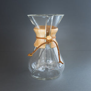 Chemex glass coffee brewer