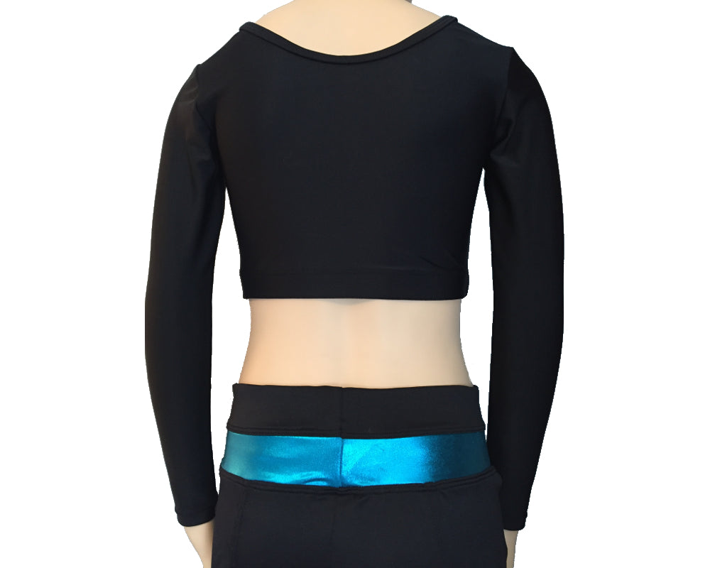 Long Sleeve Cheer Crop Top in Black Spandex