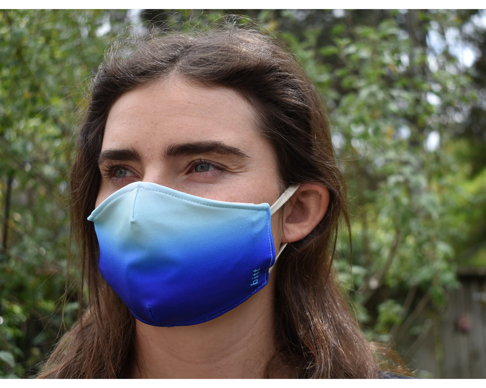 Cloth Face Mask with Filter Pocket in Blue Ombre