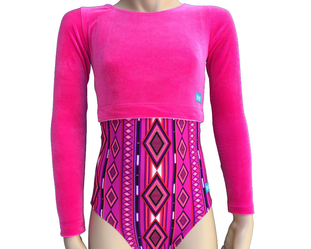 Long Sleeve Hot Pink Crop Top over Leotard front