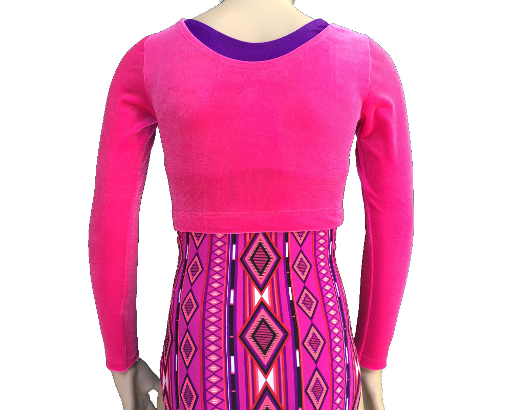 Long Sleeve Hot Pink Crop Top over Leotard back