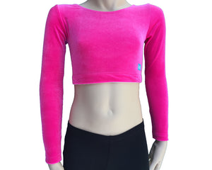 Long Sleeve Crop Top in Stretch Velvet front