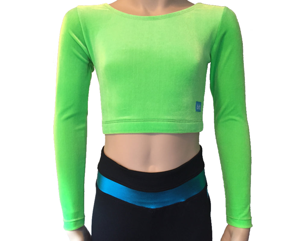 Crop Top front in Lime Green Stretch Velvet