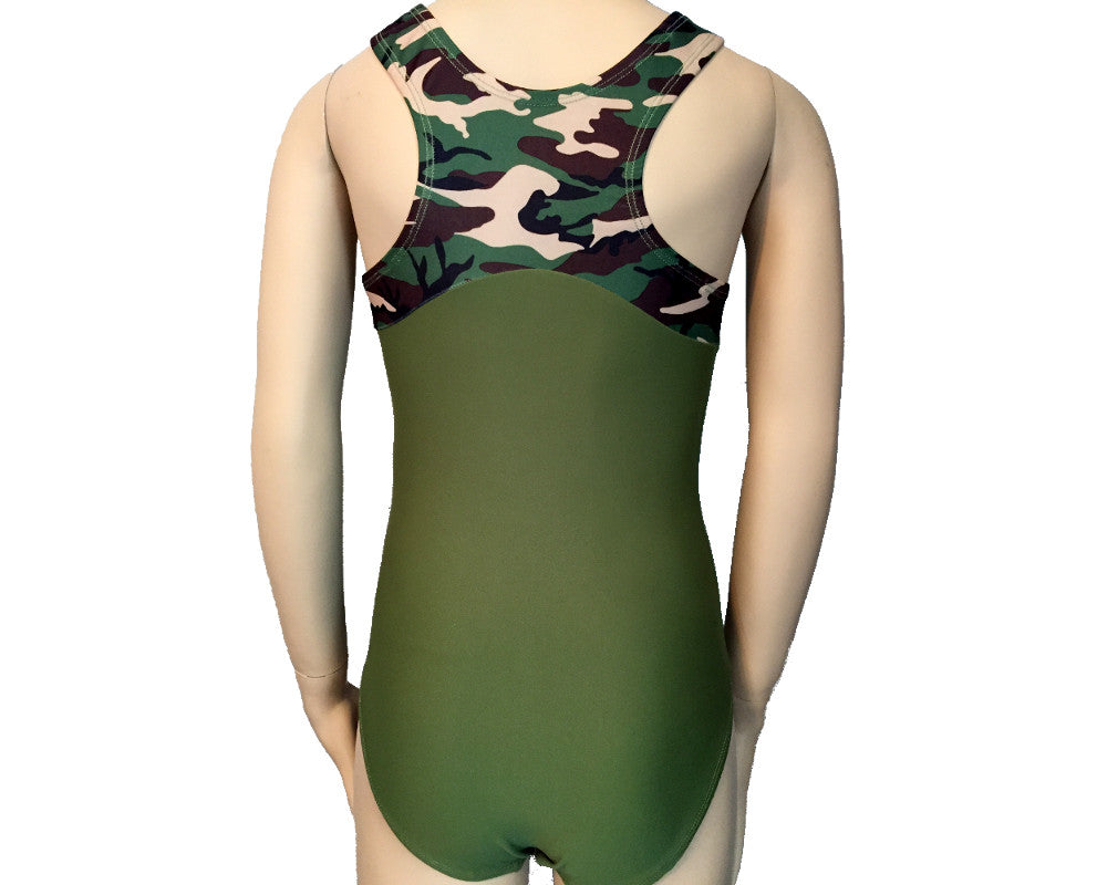 Girls Gymnastics Leotard Camouflage Racerback Back