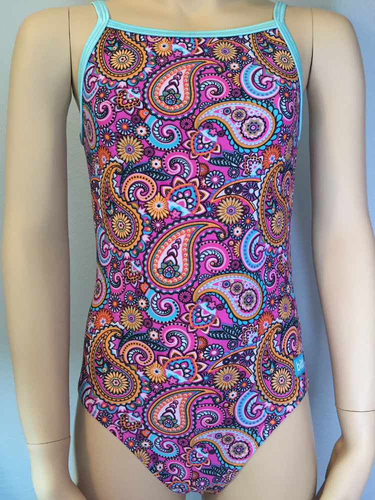Pink Paisley Spaghetti Strap Leotard Front
