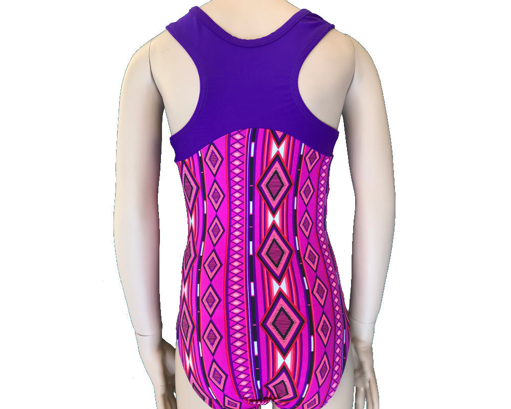 Gymnast Leotard for Girls racerback pink and purple back
