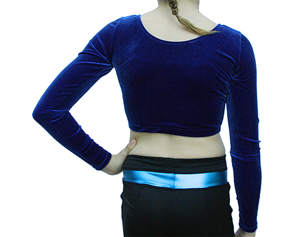 Long Sleeve Royal Blue Crop Top for Gymnastics Dance Cheer