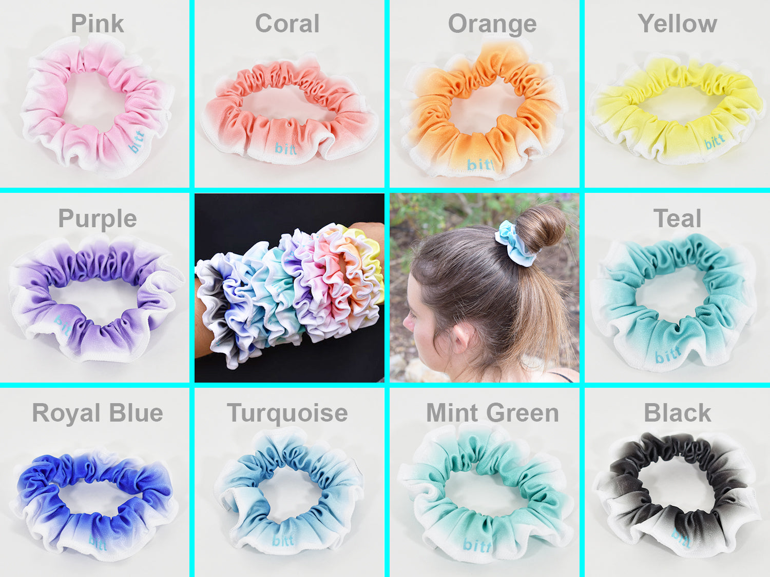 Gymnastics Hair Scrunchies Set in Ombre Colors