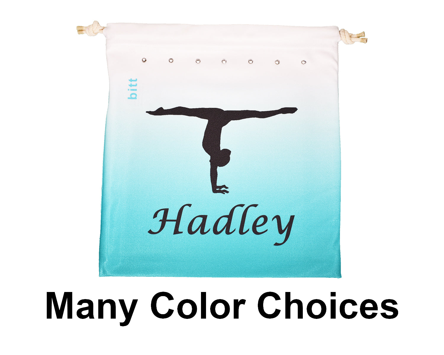 Personalized Gymnastics Grip Bag Ombre with Handstand Image