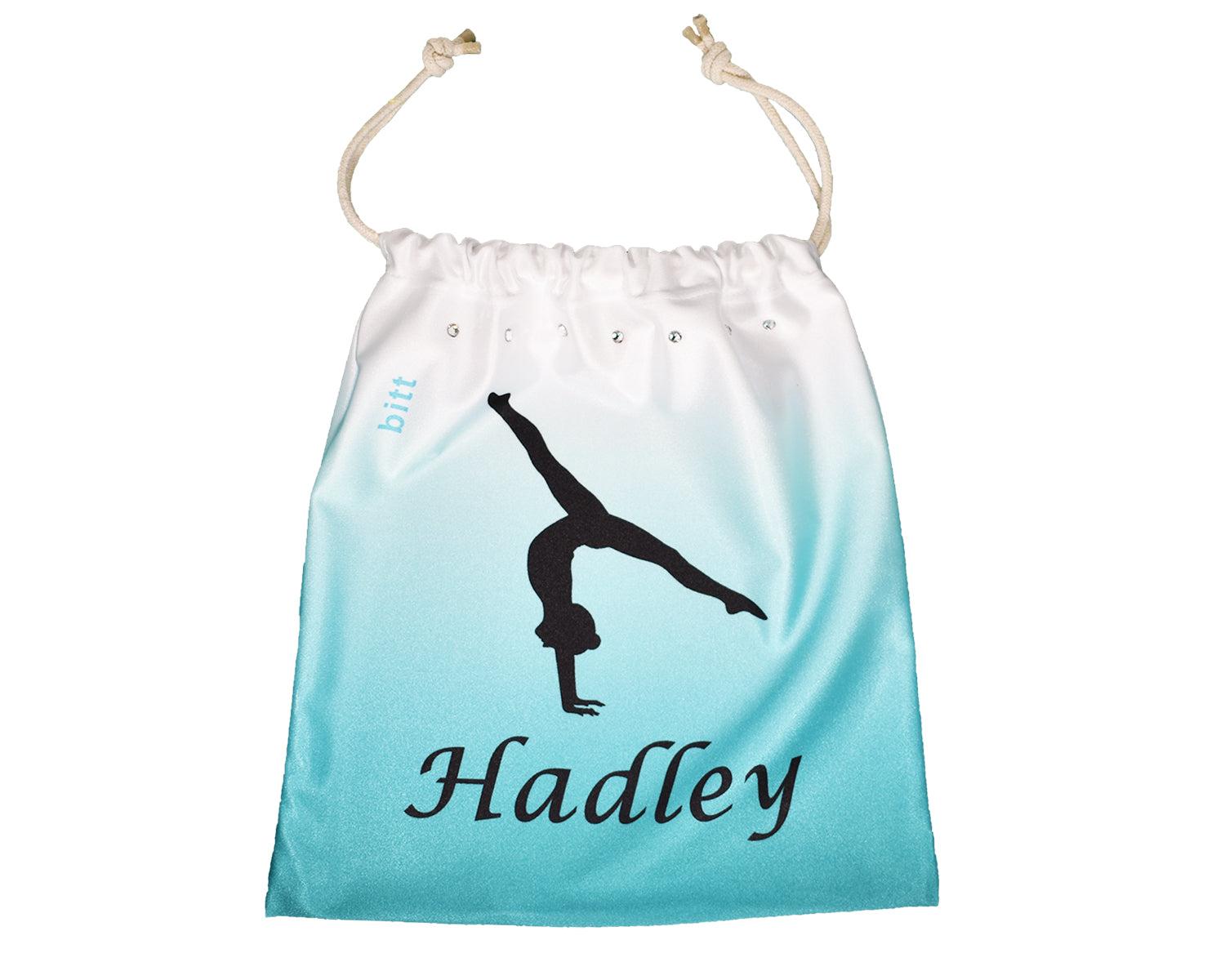 Personalized Grip Bag Teal Ombre with Gymnastics Handstand