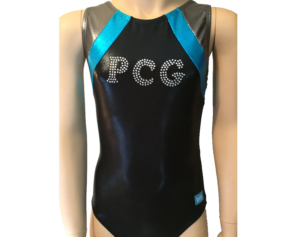 Black and Turquoise Mystique team gymnastics leotard with logo