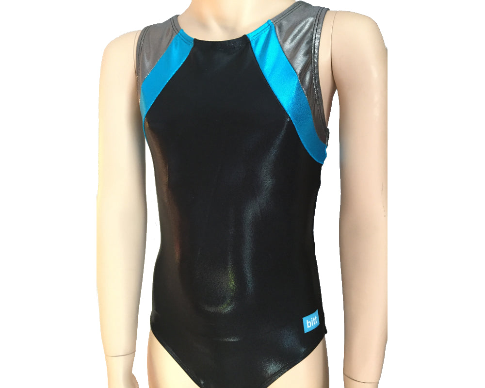 Black and Turquoise Mystique team gymnastics leotard