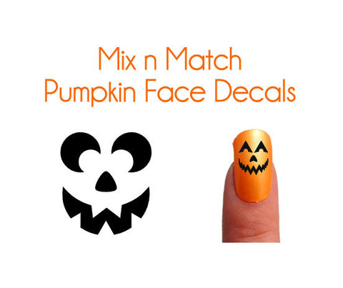 Mix n Match Pumpkin Face Nail Decals