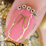 Champagne Glass Nail Decals
