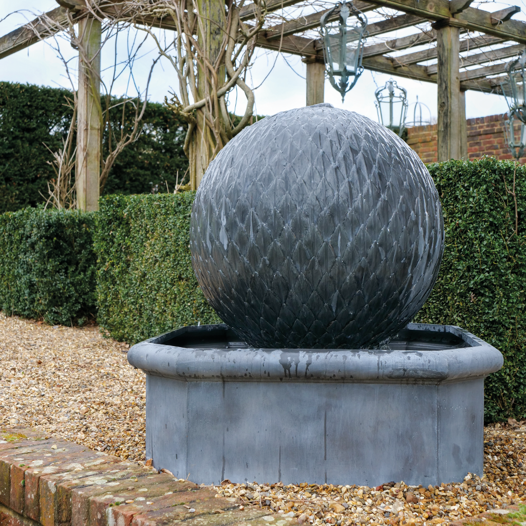 Leaf Ball Water Feature - Octagonal Base