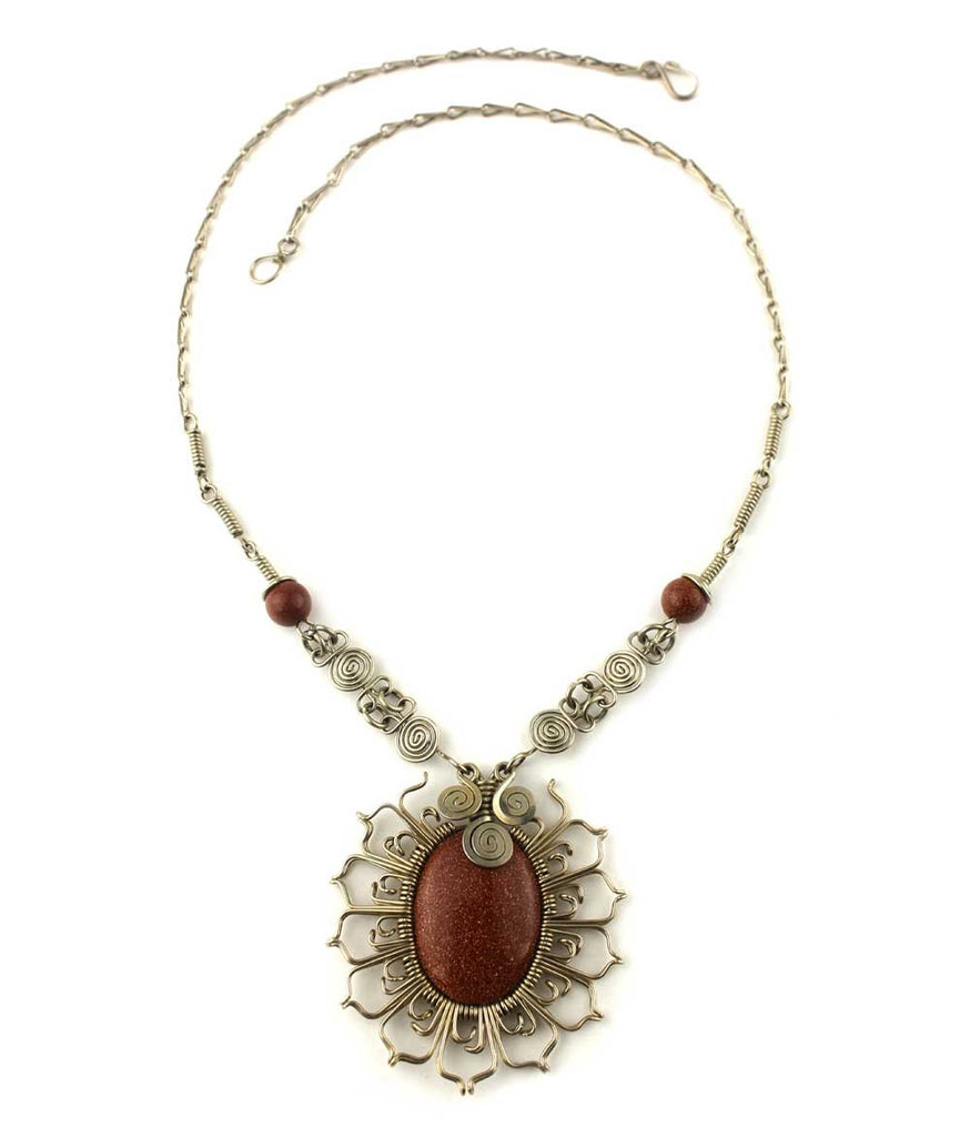 "Wire Wrapped Necklace ""Girasol"""